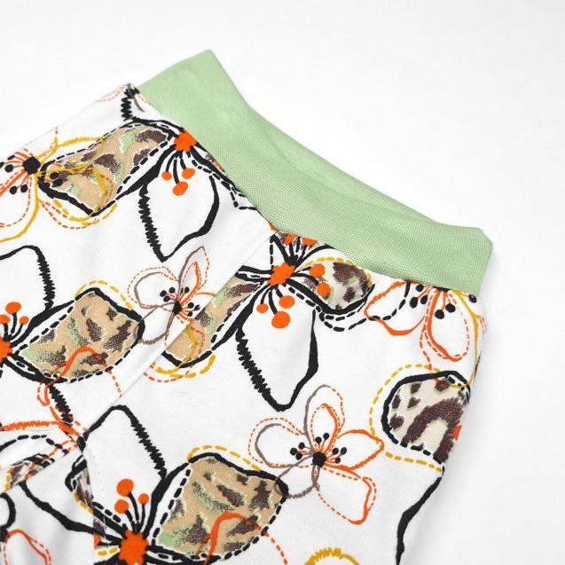 Детские трикотажные штанишки с манжетами Flower