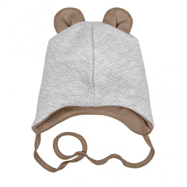 Тепла капітонова шапочка кавового кольору Mocco