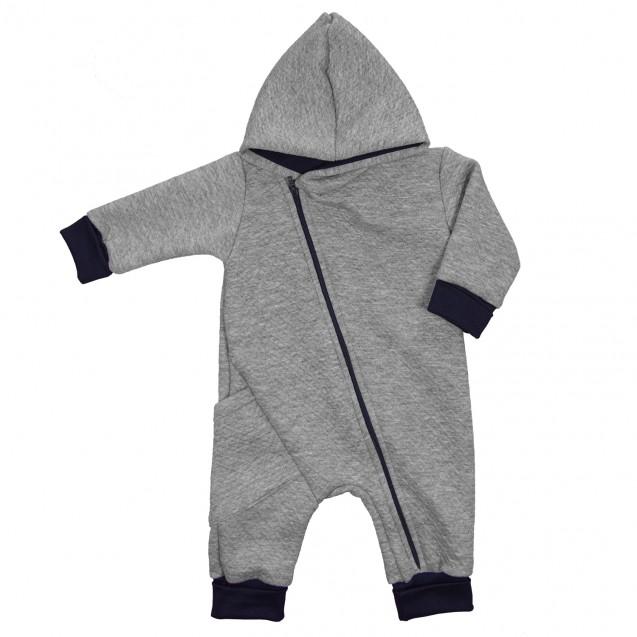 Детский теплый комбинезон с капюшоном для ребенка Gray