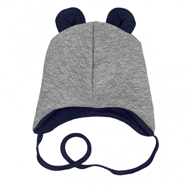 Демисезонная теплая капитоновая шапочка с ушками Gray