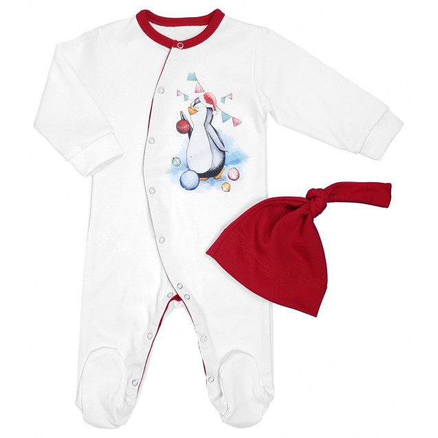 Новогодний человечек с шапочкой для ребенка от трех месяцев Pinguin