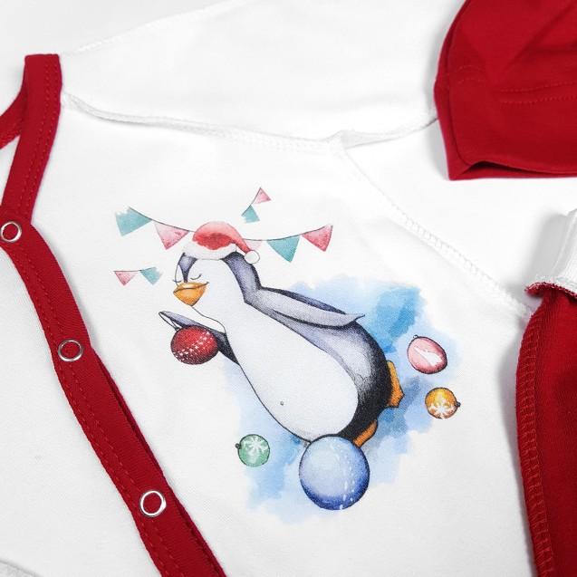 Новогодний комплект для новорожденного 4 в 1 с Пингвиненком