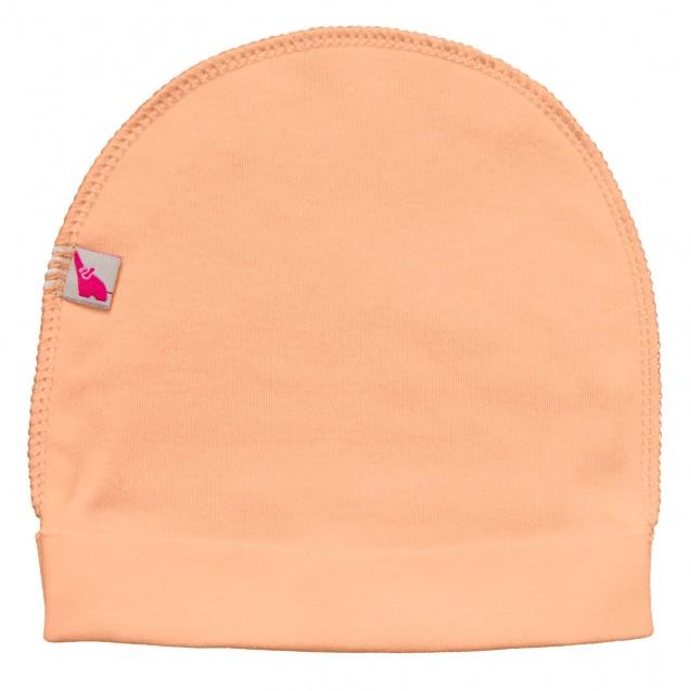 Базовая шапочка в роддом с наружным швом Peach