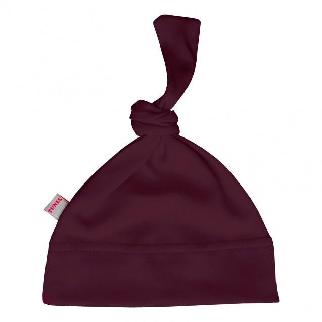 Однотонная шапочка с узелком для малышей Wine
