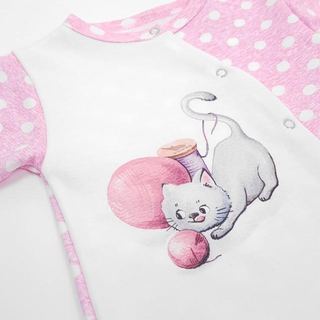 Чоловічок для дівчинки з малюнком кошеня від трьох місяців Pink