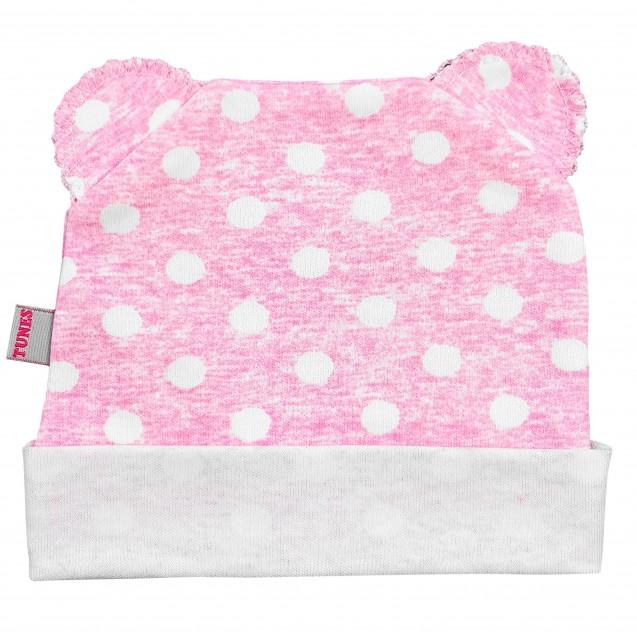 Шапочка в горошок з вушками Pink